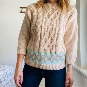 Vintage Pastel Pink Chunky Knit Pullover S…